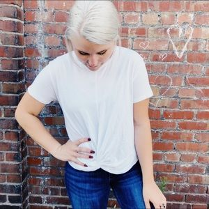 S. Wear White Basic Short Sleeve Tee Knot